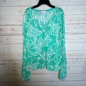 Lilly Pulitzer Green Print Button Up Cardigan Sz L